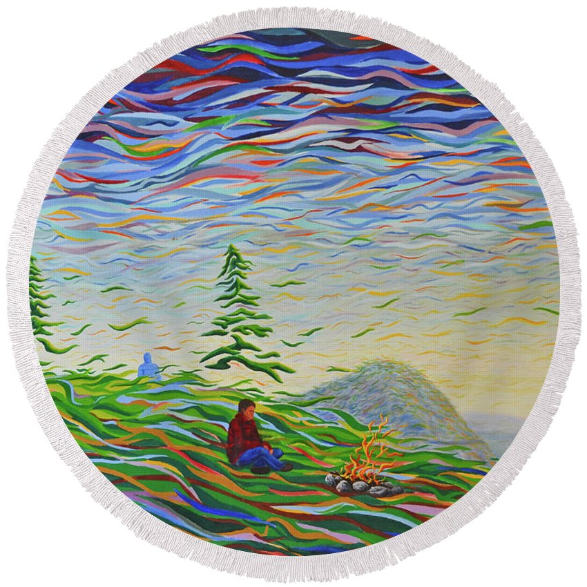 Landscape Round Beach Towel featuring the painting Weave by Bill Junor