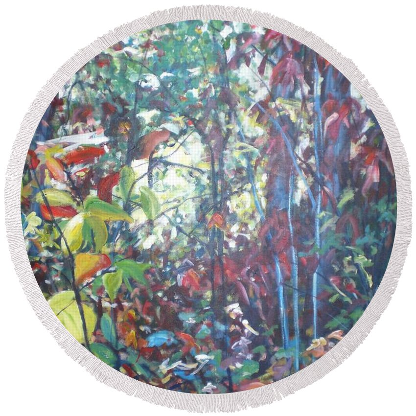 Landscape Round Beach Towel featuring the painting Web Of Color by Sheila Holland