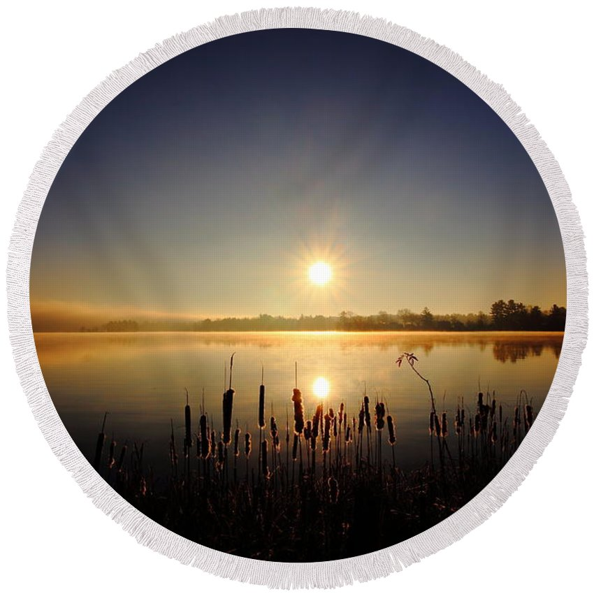 Sunrise Round Beach Towel featuring the photograph Webster Lake December Sunrise by Neal Eslinger