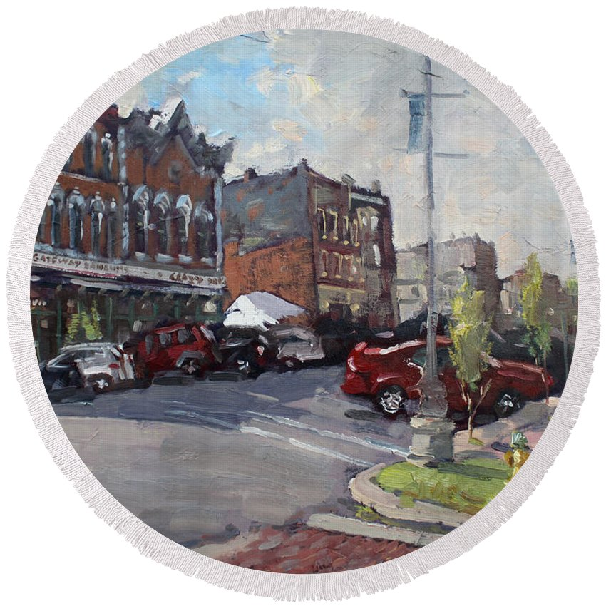 Webster Street Round Beach Towel featuring the painting Webster Street North Tonawanda by Ylli Haruni