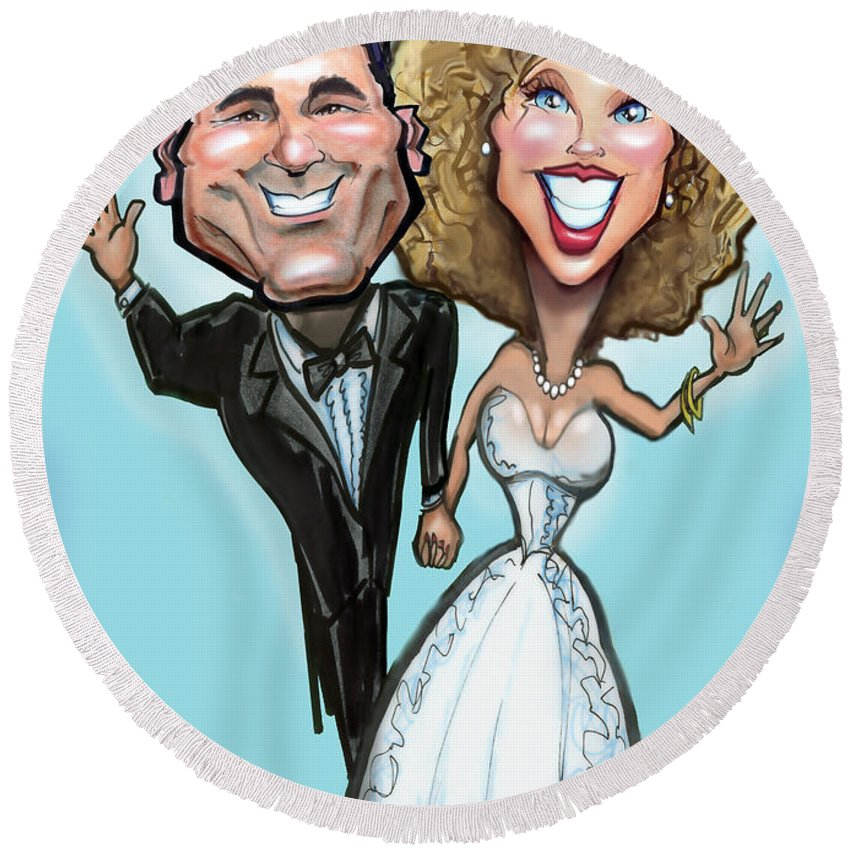 Anniversary Round Beach Towel featuring the painting Wedding Cake Dolls by Kevin Middleton