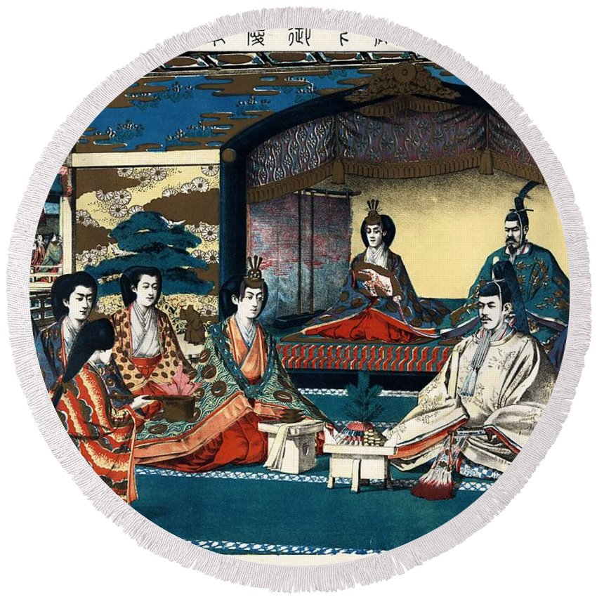Japan Round Beach Towel featuring the painting Wedding Of Crown Prince Yoshihito And Princess Kujo Sadako, 1900 by Vintage Printery