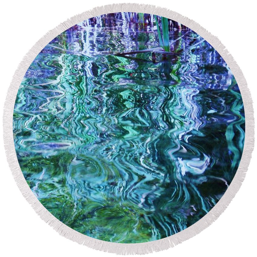 Photograph Blue Green Weed Shadow Lake Water Round Beach Towel featuring the photograph Weed Shadows by Seon-Jeong Kim