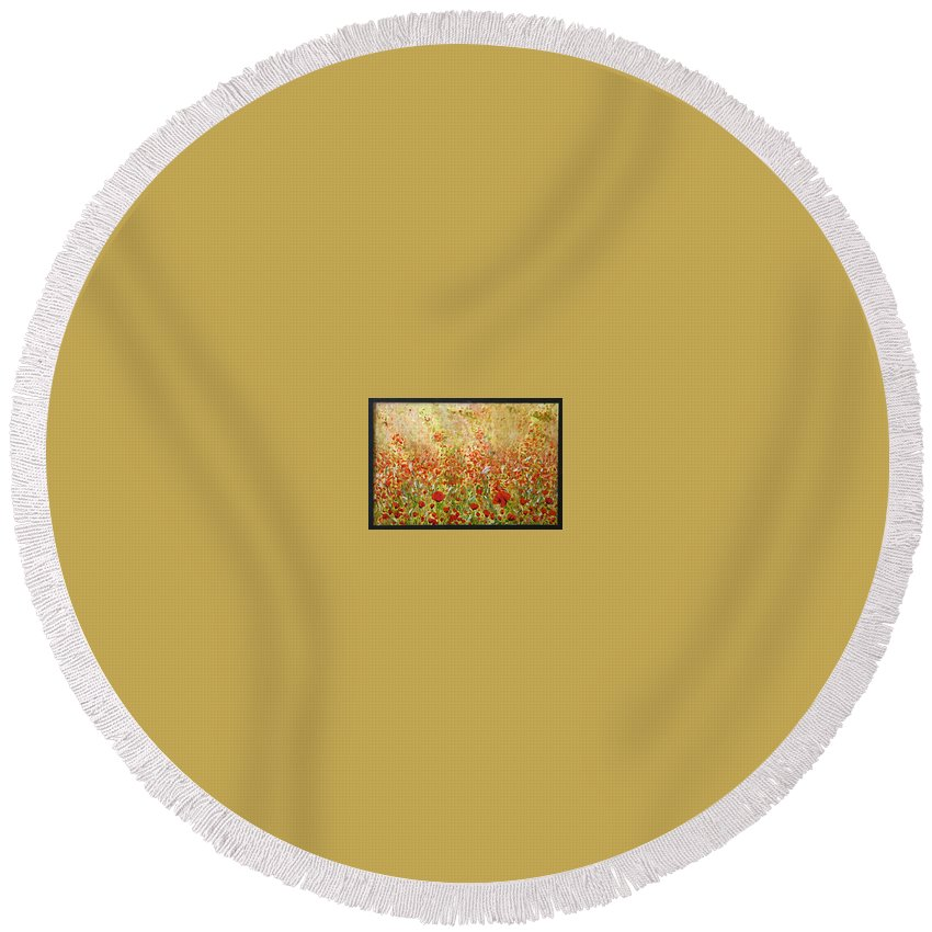 Landscape Round Beach Towel featuring the painting Weeds by Pablo de Choros