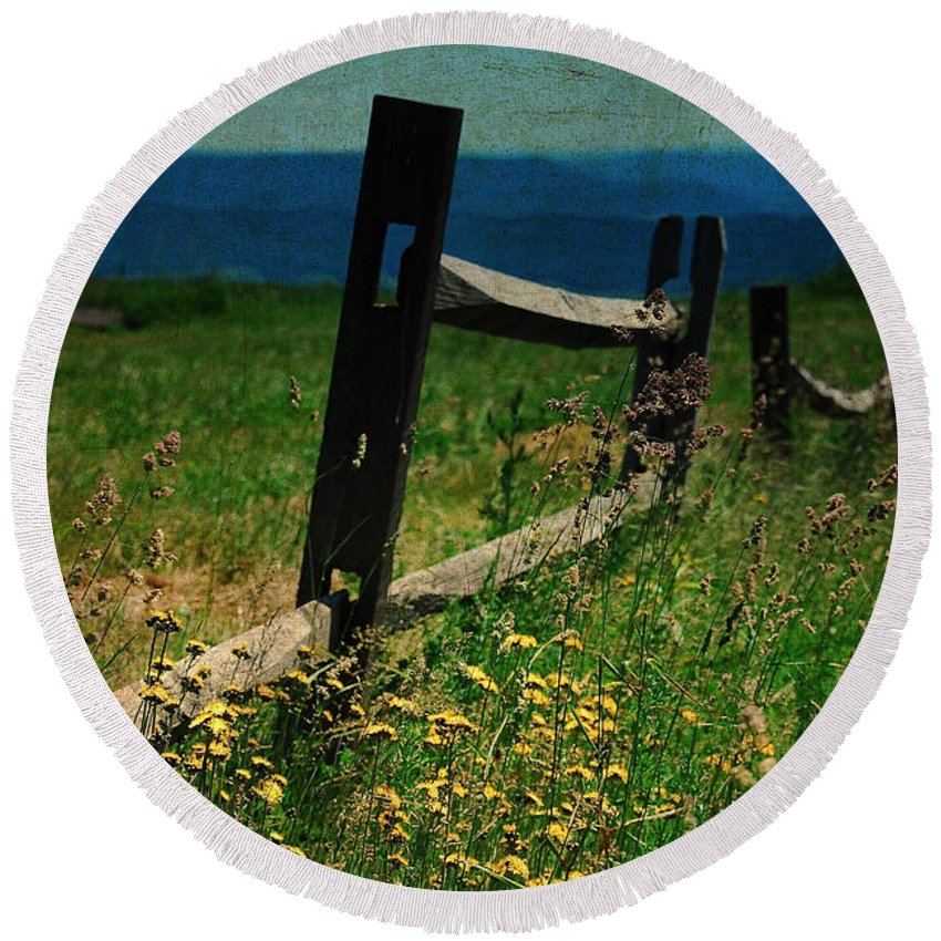Fence Round Beach Towel featuring the photograph Weeds by Lois Bryan