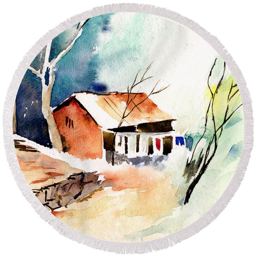 Nature Round Beach Towel featuring the painting Weekend House by Anil Nene