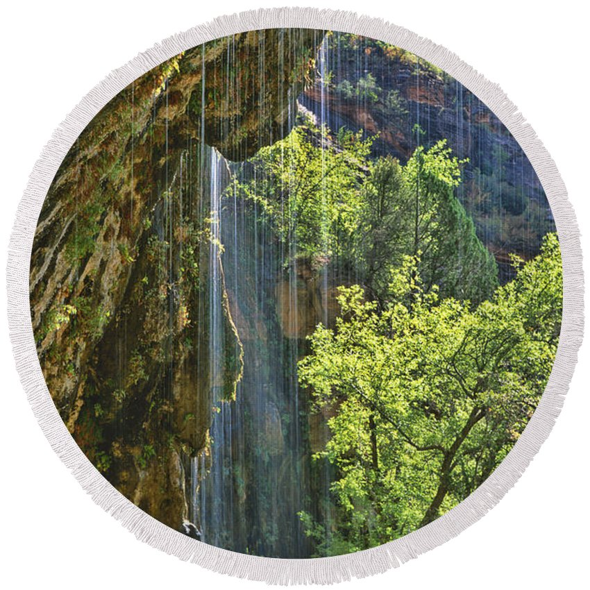 Southwest Round Beach Towel featuring the photograph Weeping Rock - Zion Canyon by Sandra Bronstein