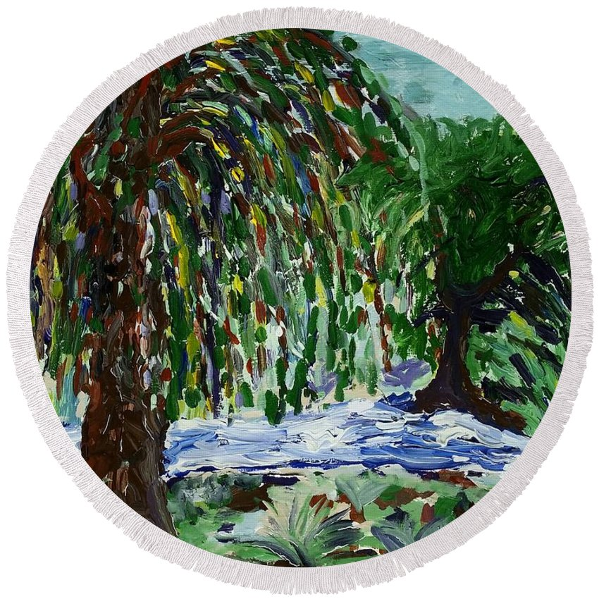 Weeping Tree Round Beach Towel featuring the painting Weeping Tree by Peter Nervo