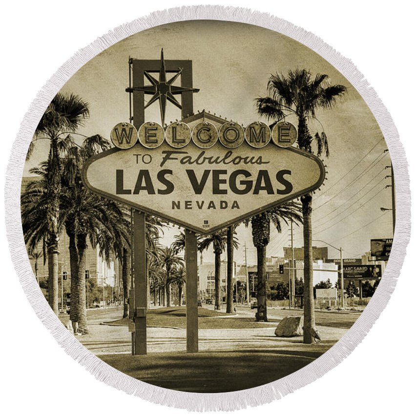 Las Round Beach Towel featuring the photograph Welcome To Las Vegas Series Sepia Grunge by Ricky Barnard