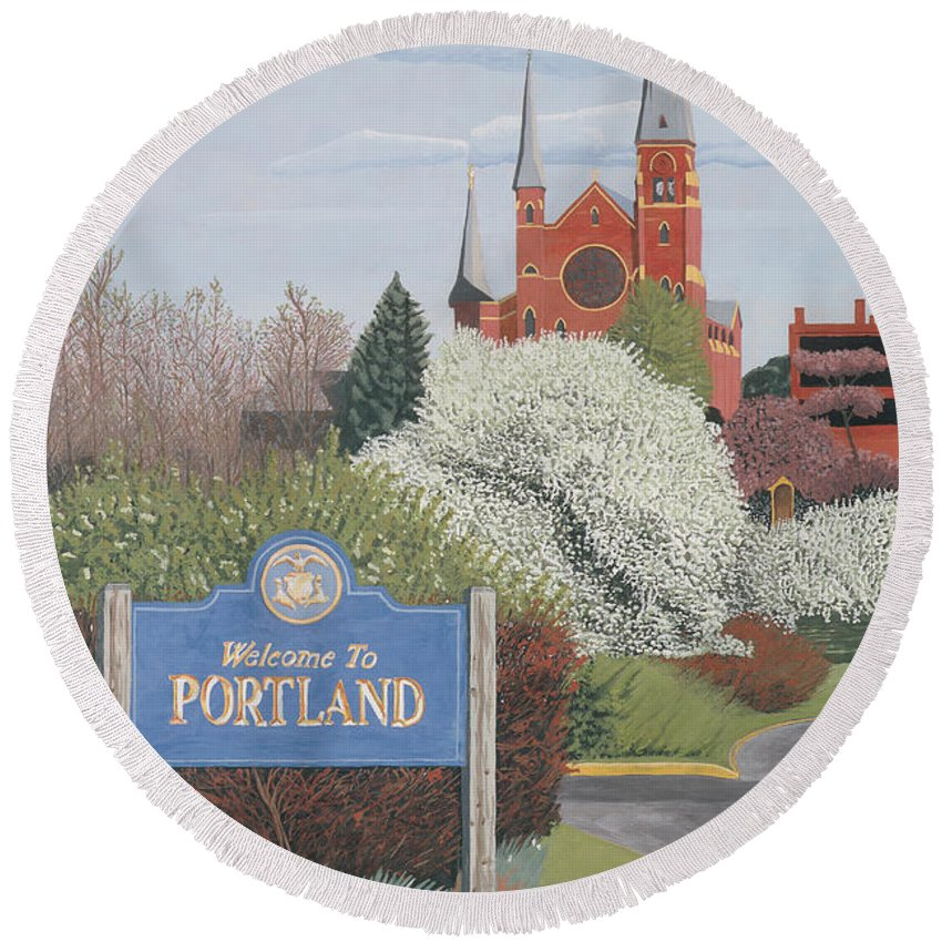 Church Round Beach Towel featuring the painting Welcome To Portland by Dominic White