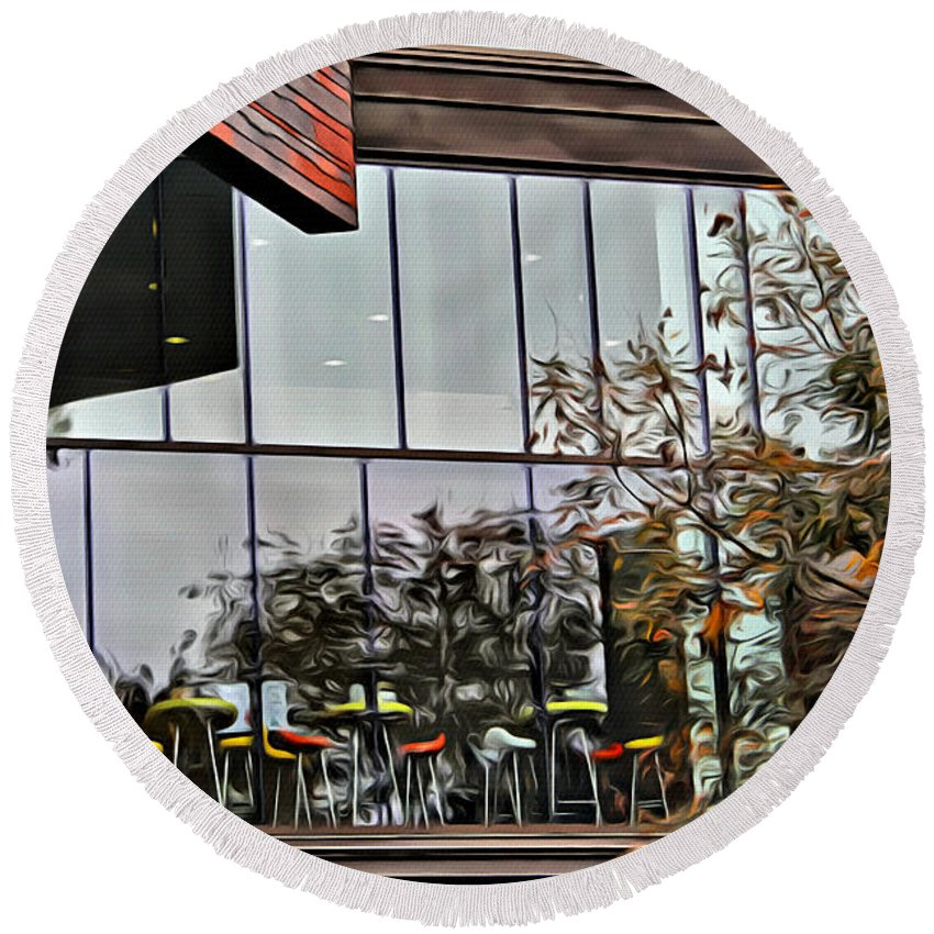 Round Beach Towel featuring the photograph Wellesley College Wang Campus Center Detail by Modern Art