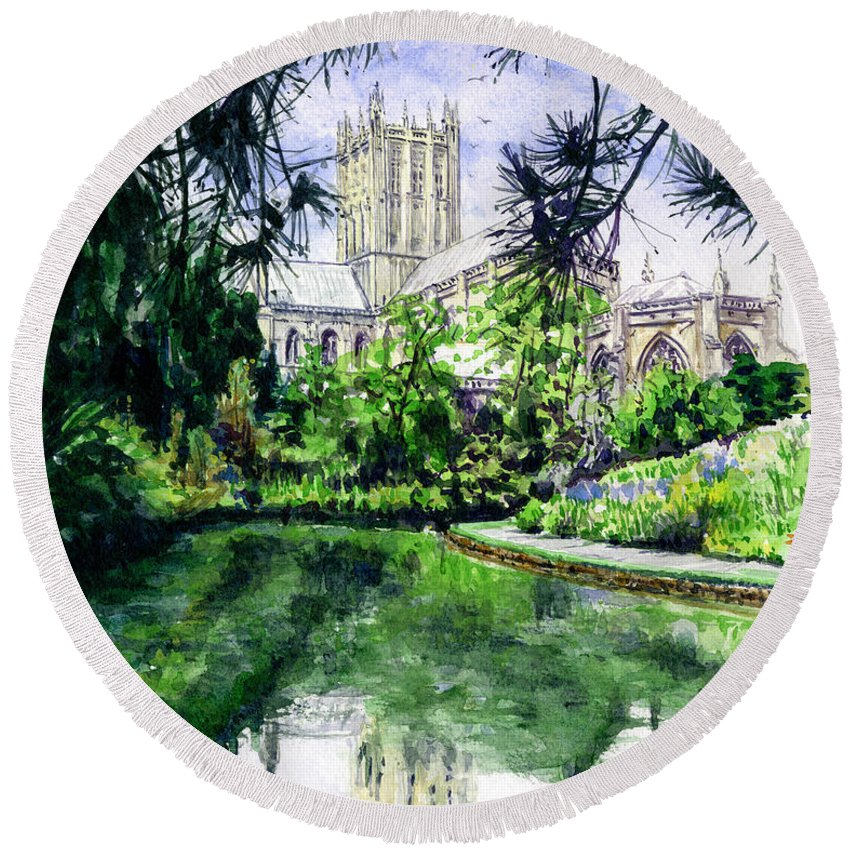 Wells Round Beach Towel featuring the painting Wells Cathedral by John D Benson