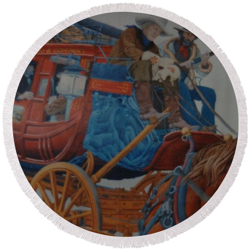 Mural Round Beach Towel featuring the photograph Wells Fargo Stagecoach by Rob Hans