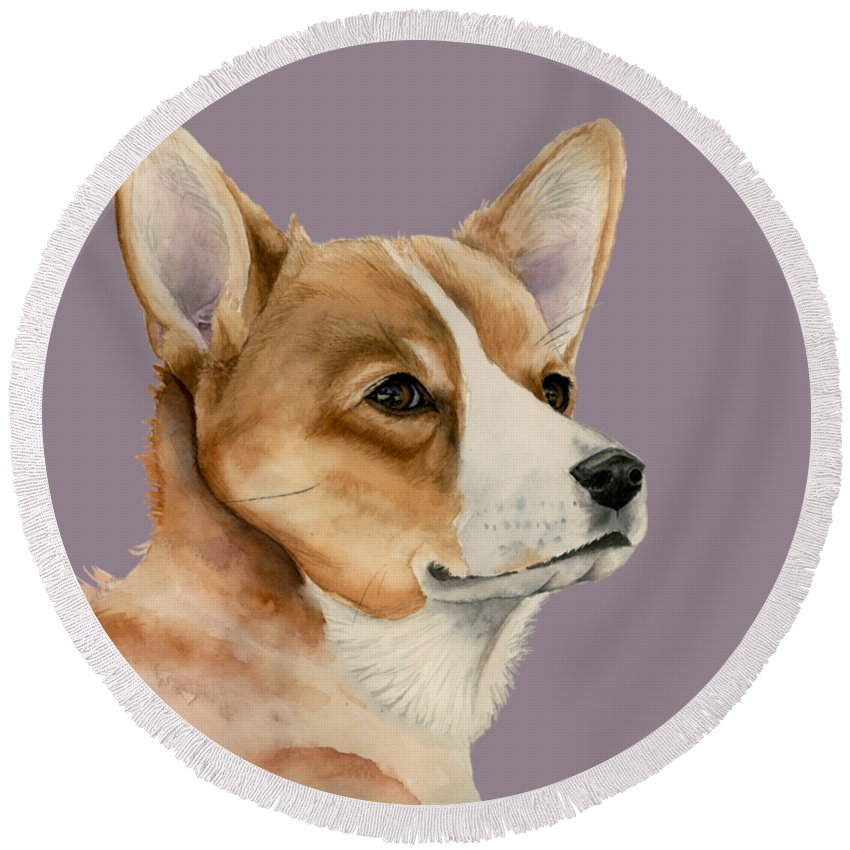 Pet Portrait Round Beach Towel featuring the painting Welsh Corgi Dog Painting by NamiBear