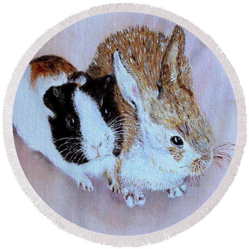 Pets Round Beach Towel featuring the painting Wendy And Bobby by Helmut Rottler