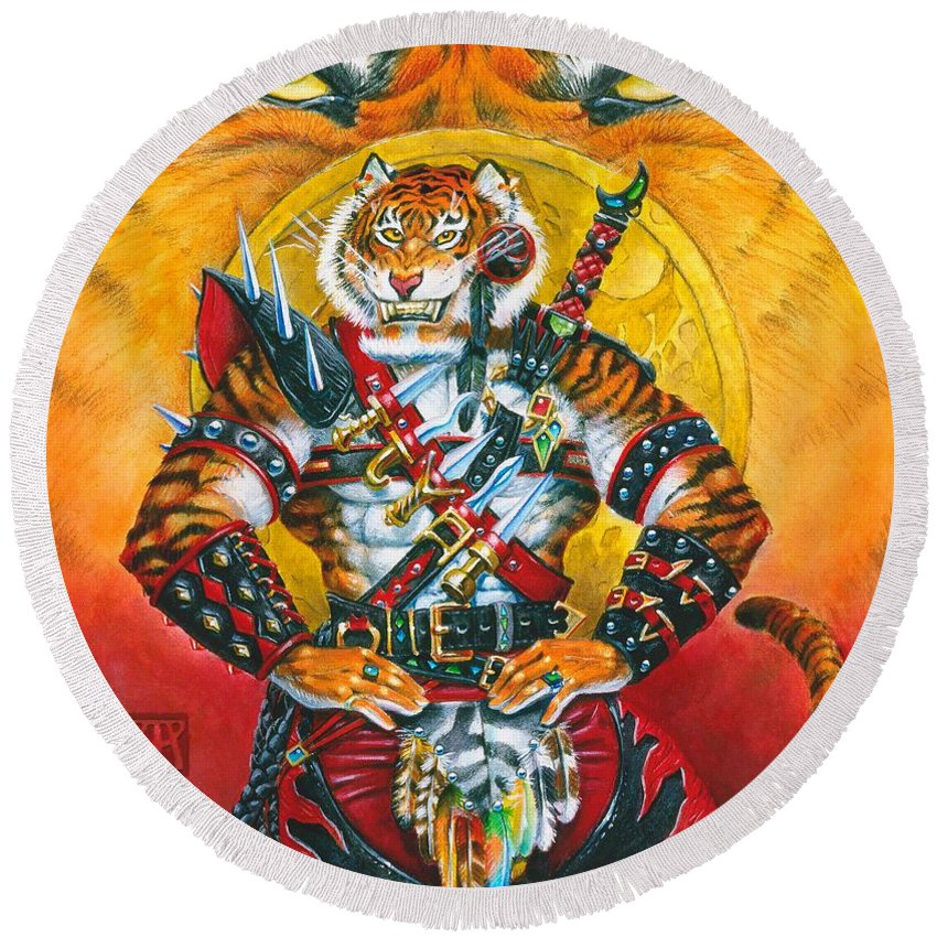 Fantasy Round Beach Towel featuring the painting Werecat Warrior by Melissa A Benson