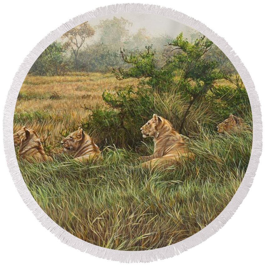 Lions Round Beach Towel featuring the painting We're Watching You Too by Alan M Hunt