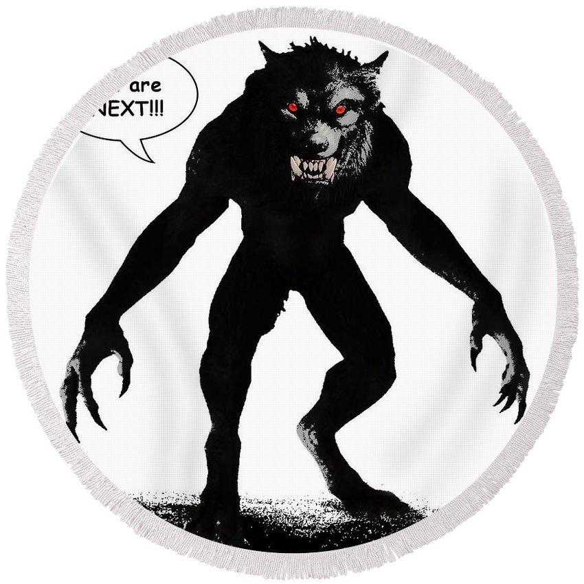 Werewolf Comic Round Beach Towel featuring the digital art Werewolf Comic Illustration 1 by Solomon Barroa