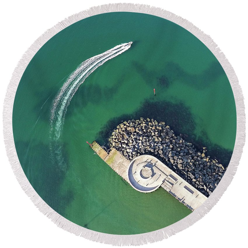 Aerial Round Beach Towel featuring the photograph West Bay Pier Head by Kevin Lajoie