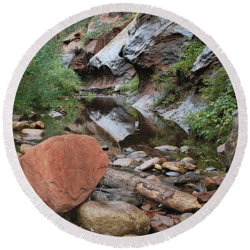 West Fork Trail River And Rock Vertical Sedona Arizona Oak Creek Canyon Wall Water Tree Bush Brush Leaf Pine Reflect Reflection Round Beach Towel featuring the photograph West Fork Trail River And Rock Horizontal by Heather Kirk