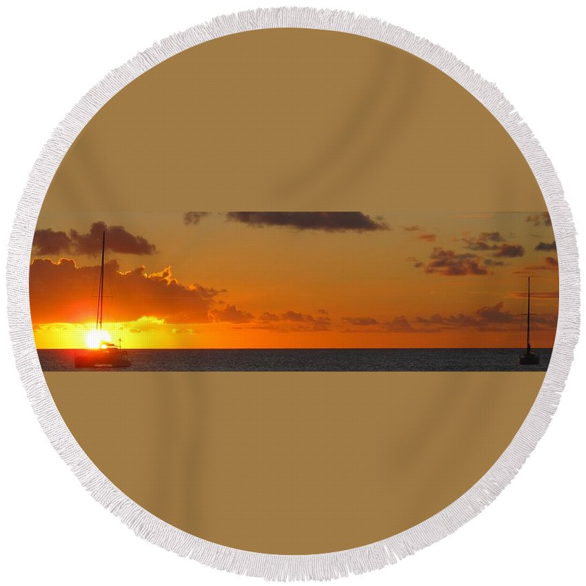 Sun Round Beach Towel featuring the photograph West From Frigate Bay by Ian MacDonald