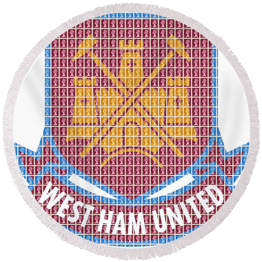 West Round Beach Towel featuring the painting West Ham by Gary Hogben