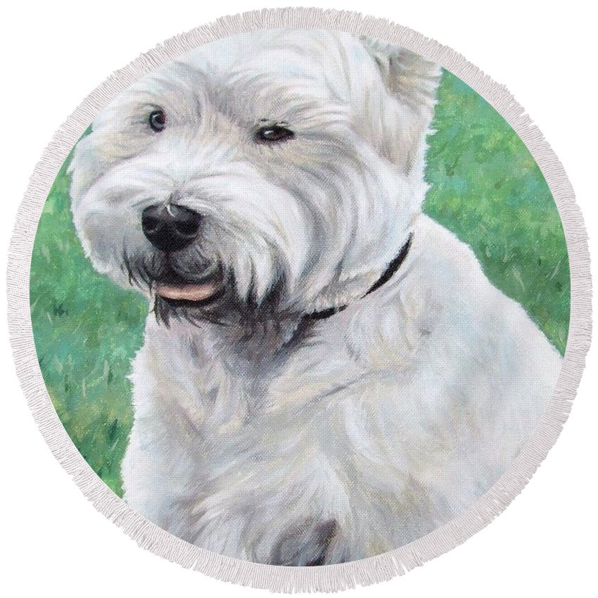 Dog Round Beach Towel featuring the painting West Highland Terrier by Nicole Zeug