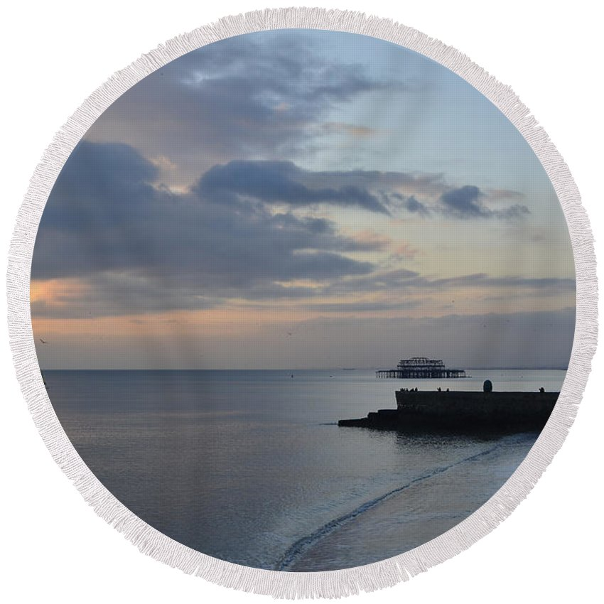 West Pier Round Beach Towel featuring the photograph West Pier Views by Smart Aviation