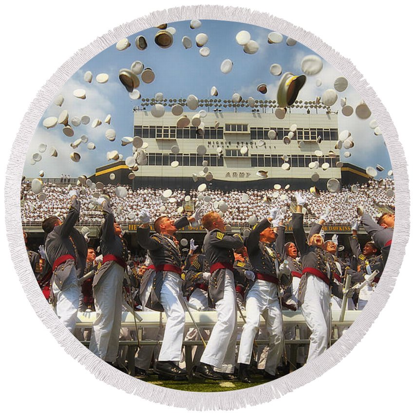 West Point Round Beach Towel featuring the photograph West Point Graduation by Mountain Dreams