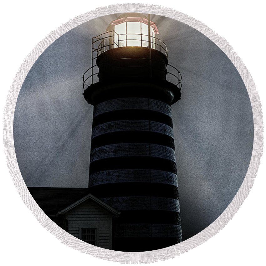 West Quoddy Head Lighthouse Aglo In Silhouettte Round Beach Towel featuring the photograph West Quoddy Head Lighthouse Aglow In Silhouette by Marty Saccone