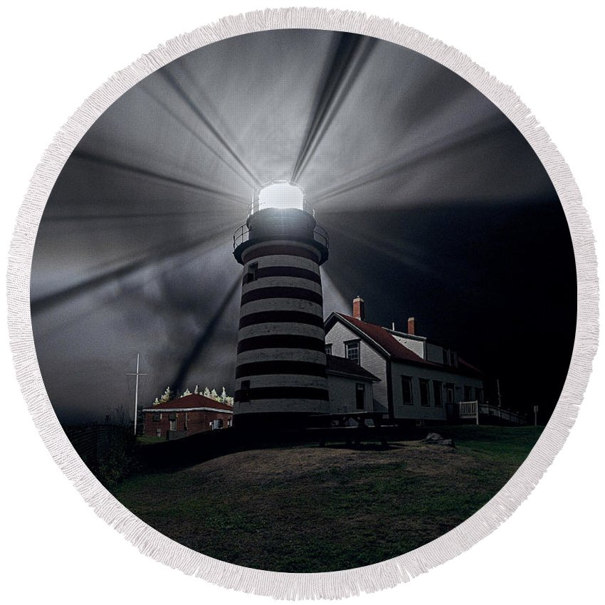 West Quoddy Head Lighthouse Round Beach Towel featuring the photograph West Quoddy Head Lighthouse History And Facts by Marty Saccone