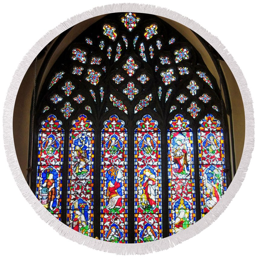 Christ Church Cathedral Fredericton Round Beach Towel featuring the photograph West Stained Glass Window Christ Church Cathedral 1 by Mark Sellers