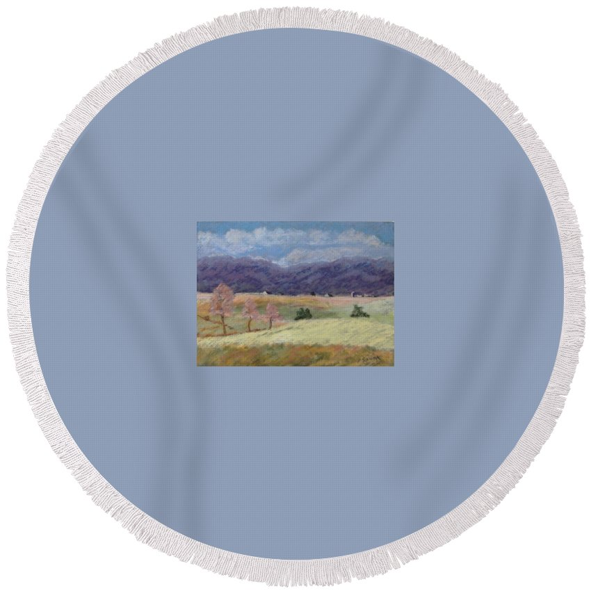Landscape Round Beach Towel featuring the pastel West Virginia Landscape       by Pat Snook