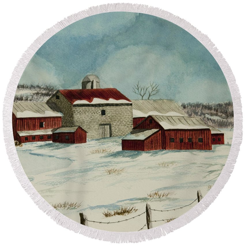Winter Scene Paintings Round Beach Towel featuring the painting West Winfield Farm by Charlotte Blanchard