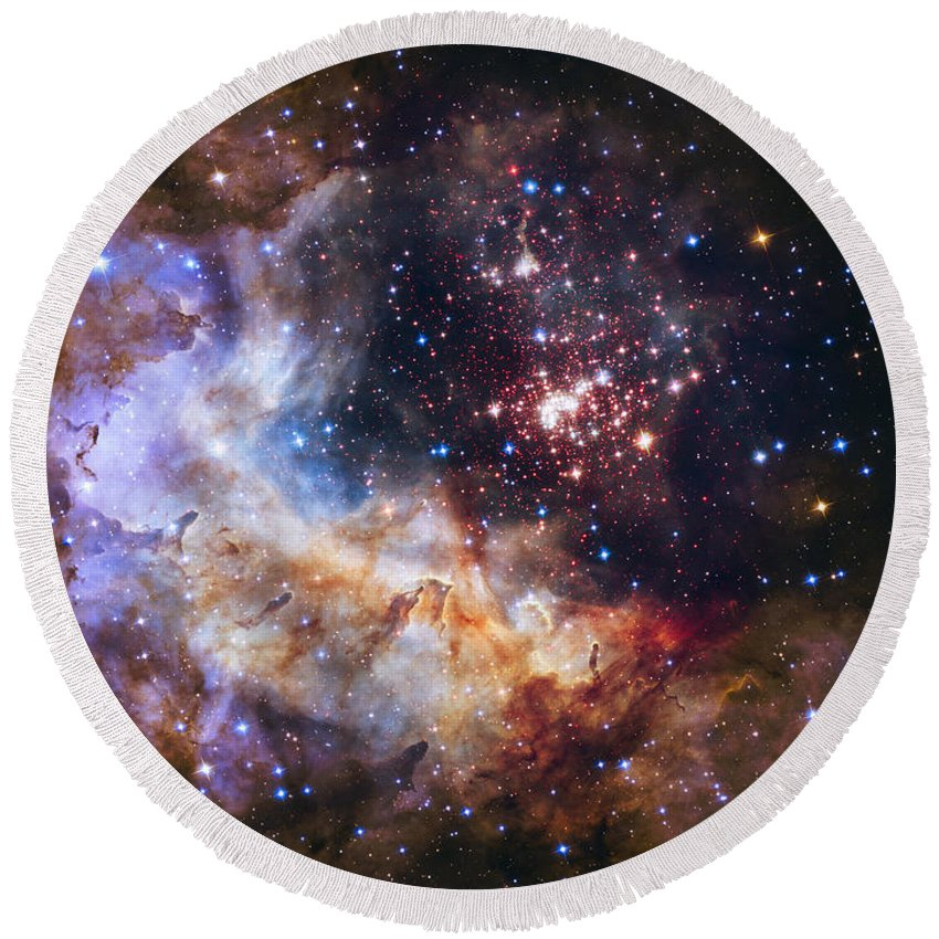 3scape Round Beach Towel featuring the photograph Westerlund 2 - Hubble 25th Anniversary Image by Adam Romanowicz