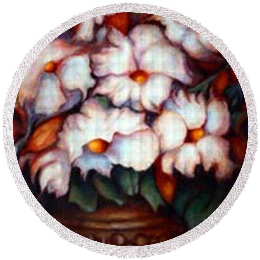 Flower Artwork Round Beach Towel featuring the painting Western Flowers by Jordana Sands