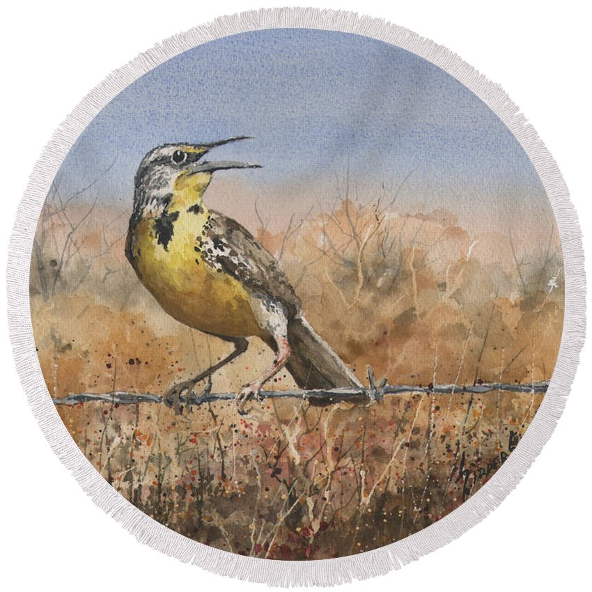 Bird Round Beach Towel featuring the painting Western Meadowlark by Sam Sidders