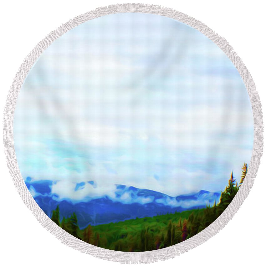 Western Misty Mountains Round Beach Towel featuring the digital art Western Misty Mountains by Susan Vineyard