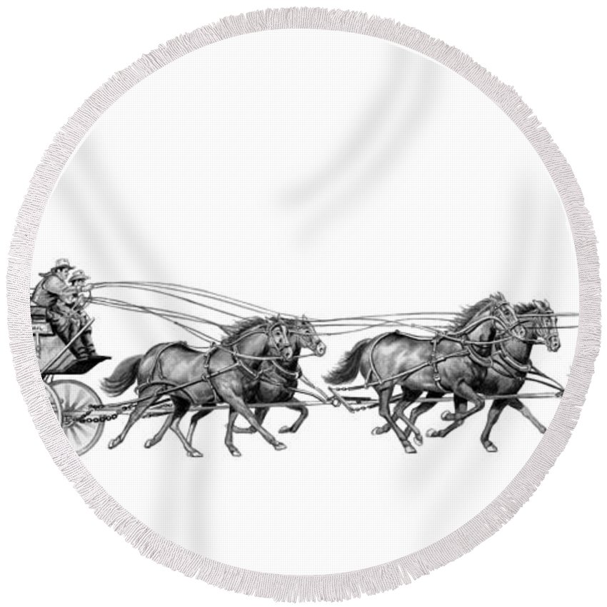 Pencil Round Beach Towel featuring the drawing Western Stagecoach by Murphy Elliott