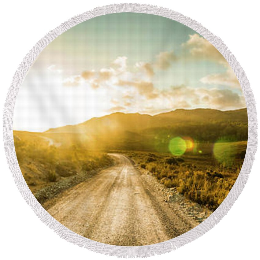 Western Round Beach Towel featuring the photograph Western Way by Jorgo Photography - Wall Art Gallery