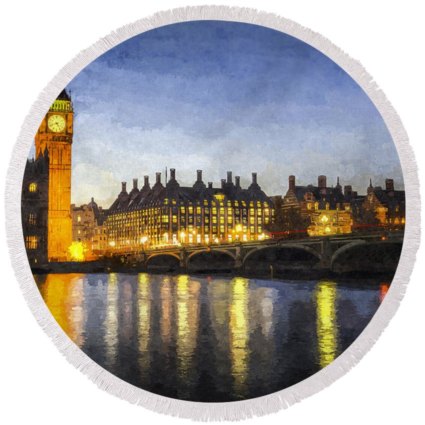 Watercolor London Round Beach Towel featuring the photograph Westminster Bridge And Big Ben Art by David Pyatt