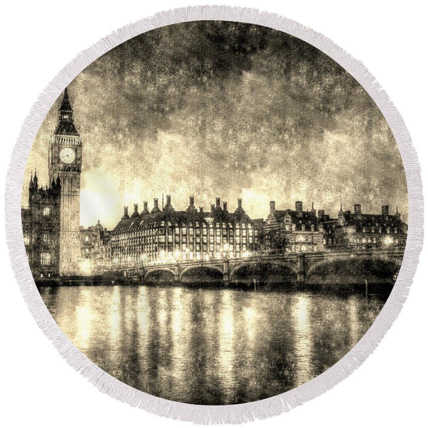 Vintage London Round Beach Towel featuring the photograph Westminster Bridge And Big Ben Vintage by David Pyatt