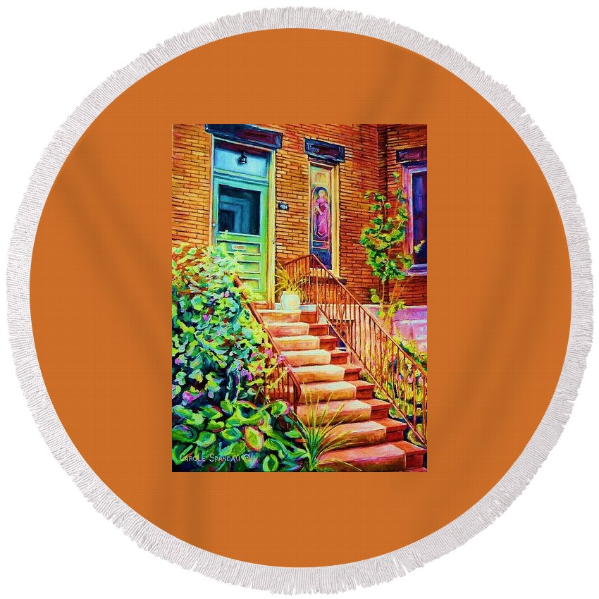 Westmount Home Round Beach Towel featuring the painting Westmount Home by Carole Spandau