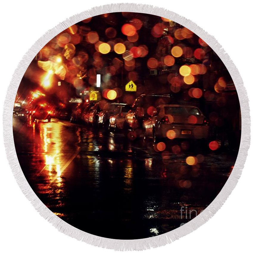 City Round Beach Towel featuring the photograph Wet City 3 by Sarah Loft