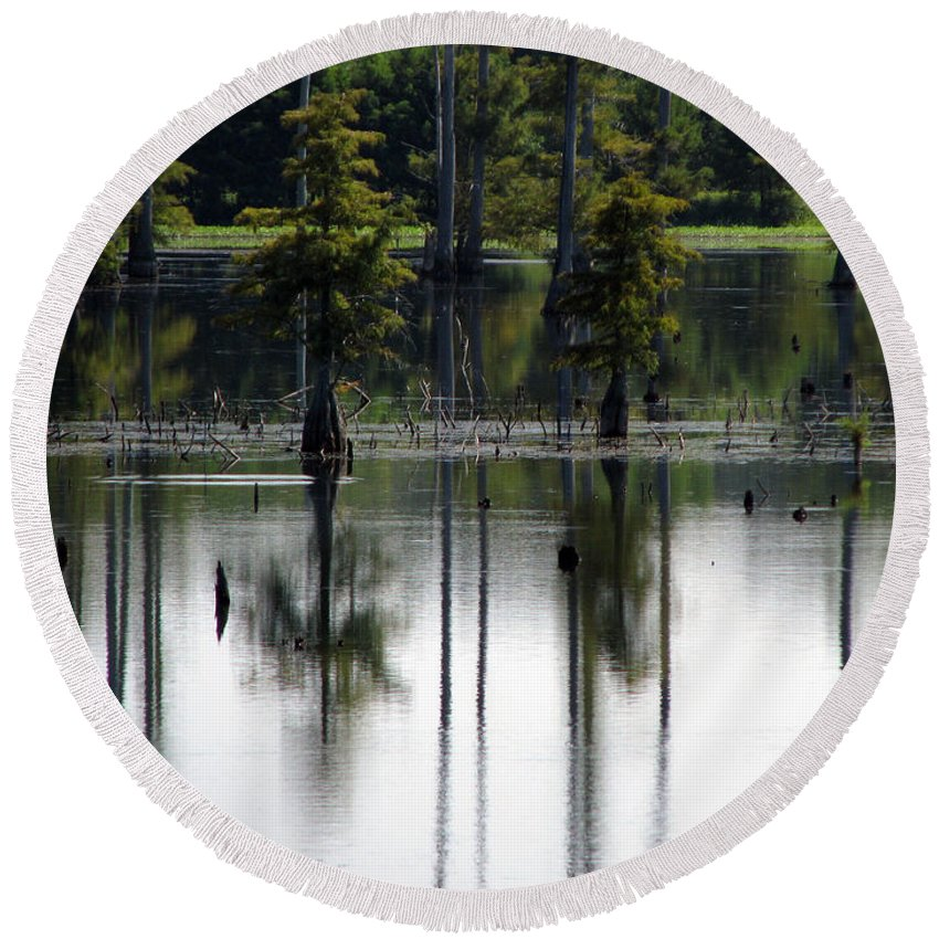 Wetlands Round Beach Towel featuring the photograph Wetland by Amanda Barcon