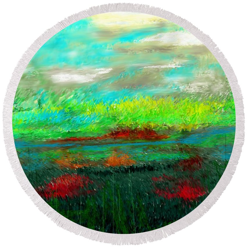 Nature Round Beach Towel featuring the digital art Wetlands by David Lane