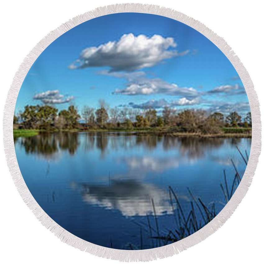 California Round Beach Towel featuring the photograph Wetlands Panorama by Randy Herring