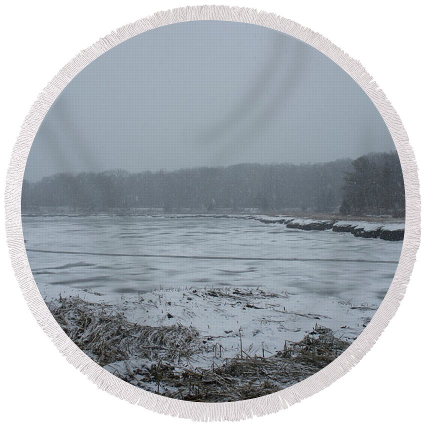 Snowstorm Round Beach Towel featuring the photograph Weymouth Back River In A Snow Storm by Adam Gladstone