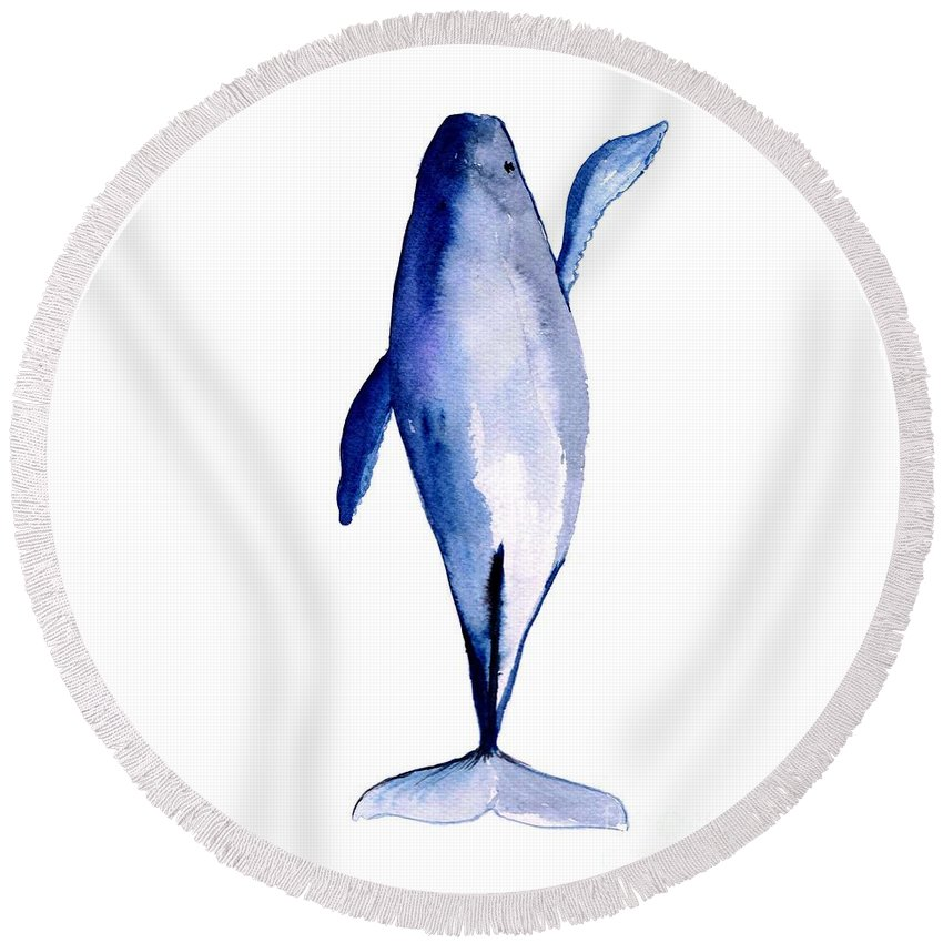 Humpback Whale Round Beach Towel featuring the painting Whale 1 by Sweeping Girl