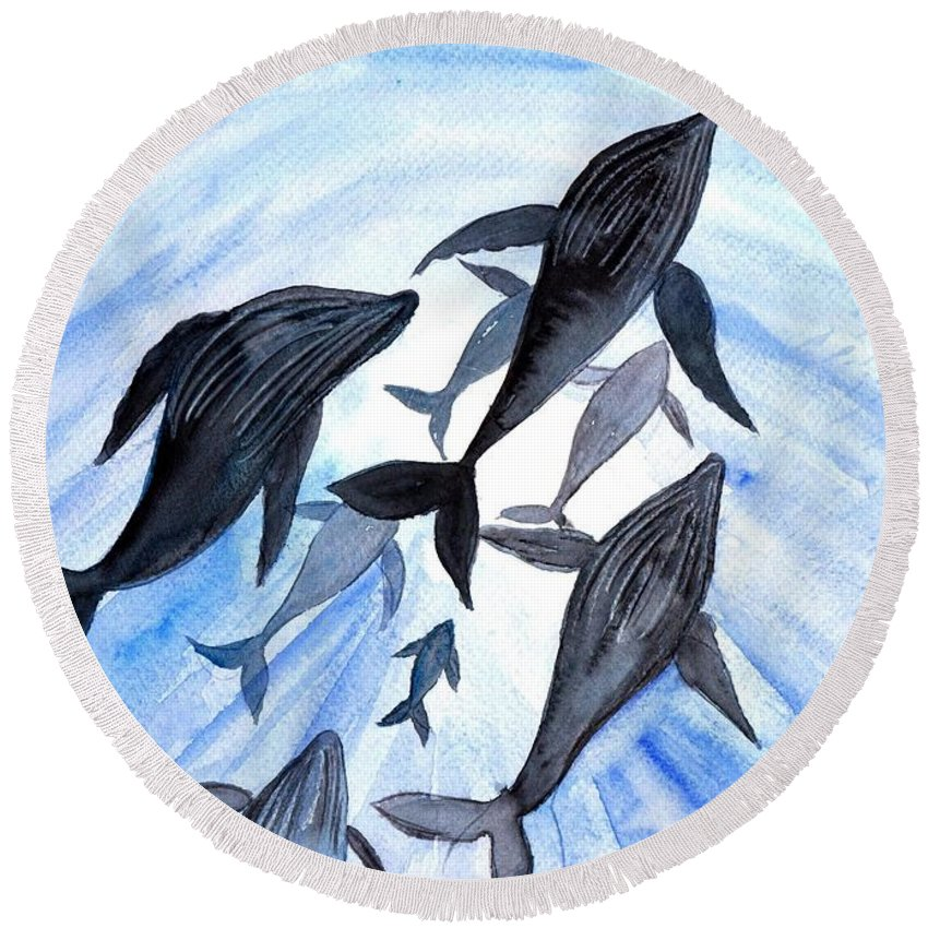 Humpback Whale Round Beach Towel featuring the painting Whale Family On Sun Ray by Sweeping Girl